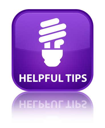 incandescence: Helpful tips (bulb icon) purple square button Stock Photo