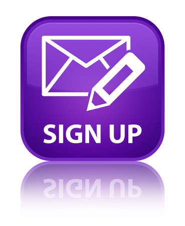 sign up: Sign up (edit mail icon) purple square button