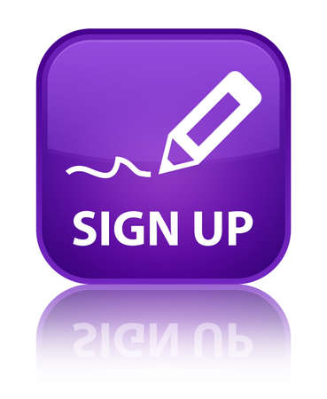 registry: Sign up purple square button Stock Photo