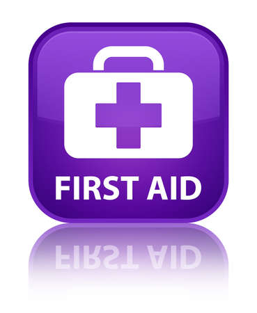 first aid sign: First aid purple square button