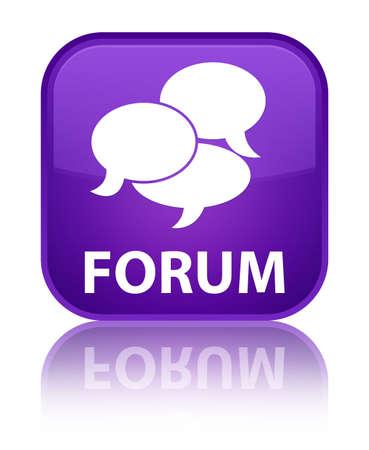 comments: Forum (comments icon) purple square button Stock Photo