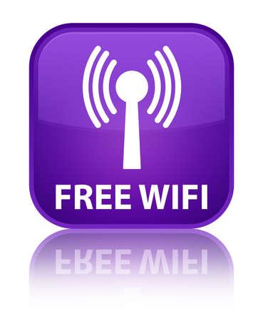 wlan: Free wifi (wlan network) purple square button Stock Photo