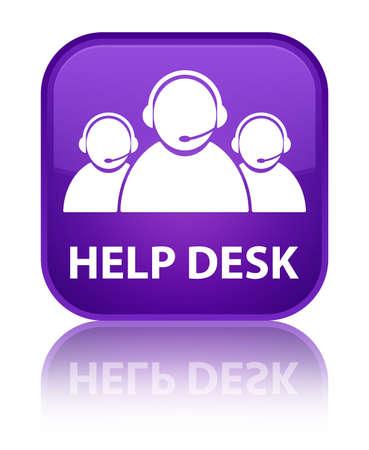 help desk: Help desk (customer care team icon) purple square button