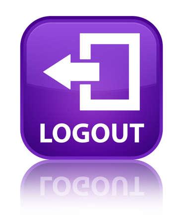 Logout purple square button photo