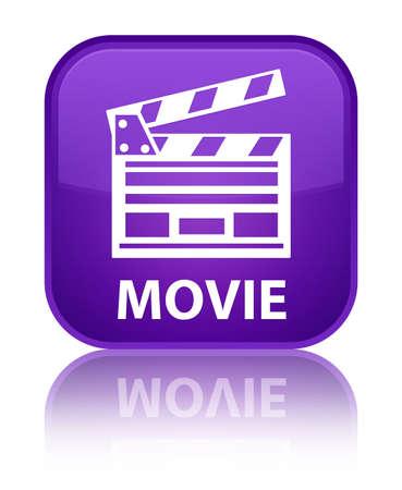 Movie (cinema clip icon) purple square button photo