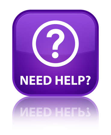 need: Need help (question icon) purple square button Stock Photo