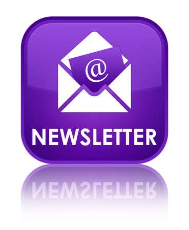 article marketing: Newsletter purple square button Stock Photo