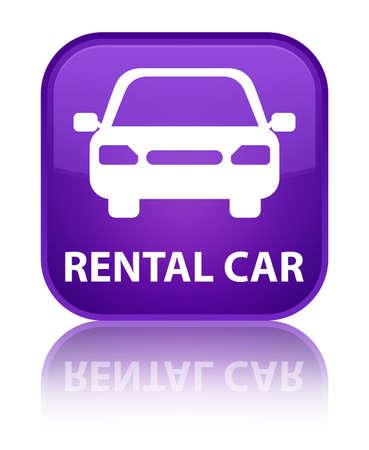 purple car: Rental car purple square button Stock Photo