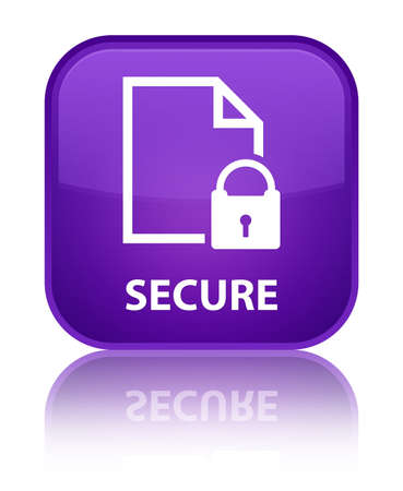 encrypted files icon: Secure (document page padlock icon) purple square button Stock Photo