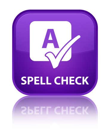 spell: Spell check purple square button Stock Photo