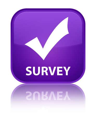 valider: Enqu�te (valider ic�ne) bouton carr� violet Banque d'images