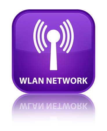 wlan: Wlan network purple square button Stock Photo