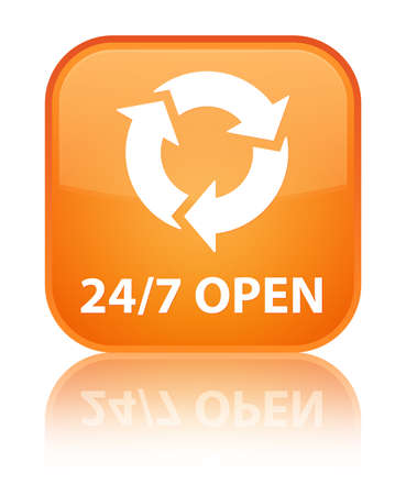 refresh icon: 247 open (refresh icon) orange square button Stock Photo
