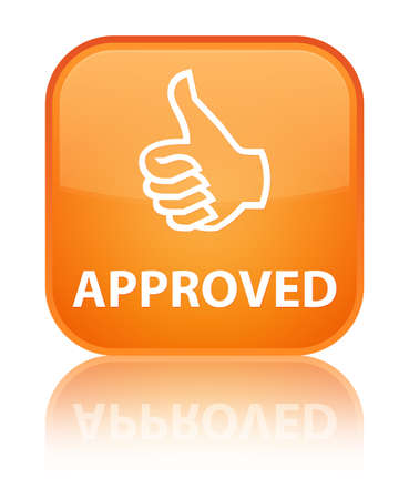 thumbs up icon: Approved (thumbs up icon) orange square button