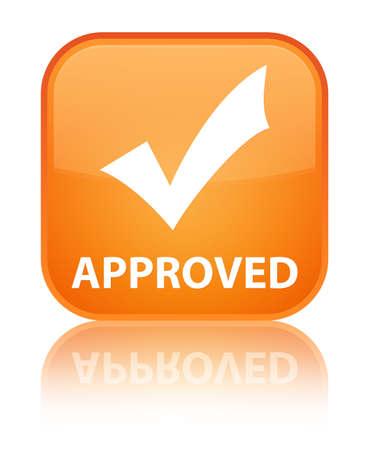 valider: Approuv� bouton carr� orange (ic�ne valider)