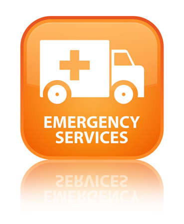 emergency services: Emergency services orange square button