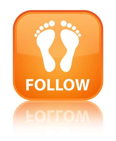 follow icon: Follow (footprint icon) orange square button Stock Photo