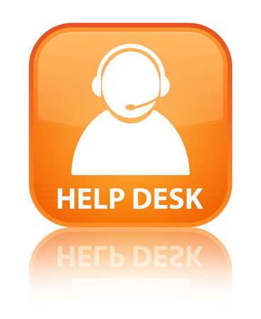 help desk: Help desk (customer care icon) orange square button Stock Photo