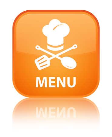 Menu (restaurant icon) orange square button photo