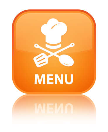 Menu (restaurant icon) orange square button photo