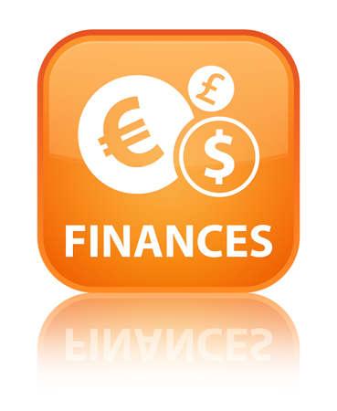 Finances (euro sign) orange square button photo
