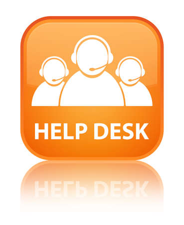 help desk: Help desk (customer care team icon) orange square button Stock Photo
