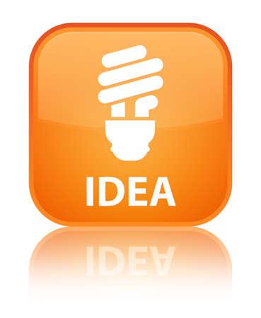 incandescence: Idea (bulb icon) orange square button Stock Photo