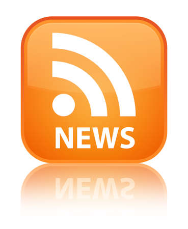 news current events: News (RSS icon) orange square button Stock Photo