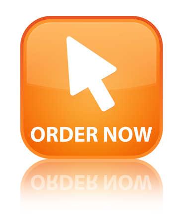 Order now (cursor icon) orange square button Stock Photo