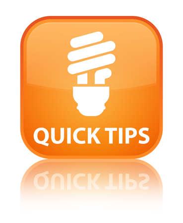 hints: Quick tips (bulb icon) orange square button