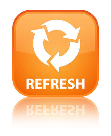refresh: Refresh orange square button Stock Photo