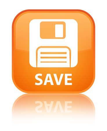 floppy disk: Save (floppy disk icon) orange square button