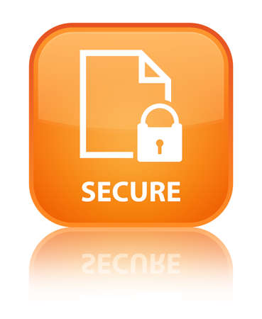 encrypted files icon: Secure (document page padlock icon) orange square button