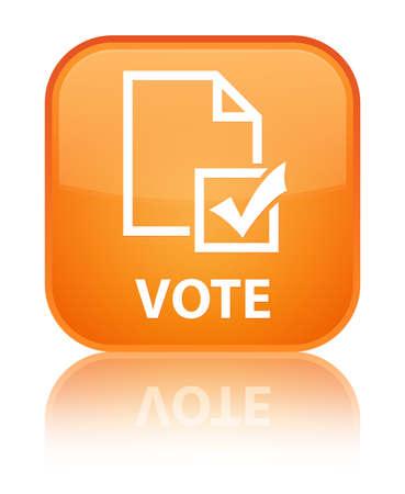 Vote (survey icon) orange square button photo