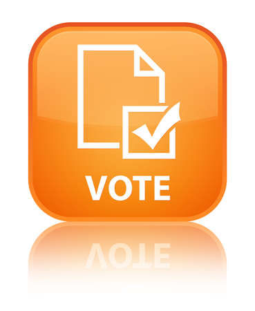 Vote (survey icon) orange square button photo