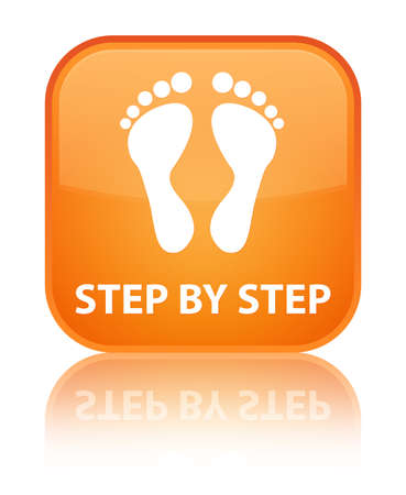 finger bones: Step by step (footprint icon) orange square button