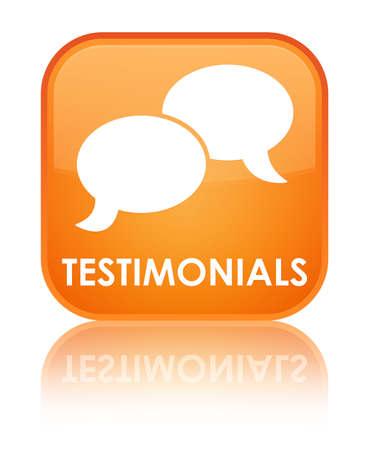 authenticate: Testimonials (chat icon) orange square button Stock Photo