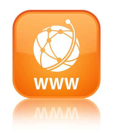 WWW (global network icon) orange square button photo