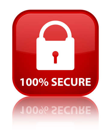 restricted access: 100% secure red square button