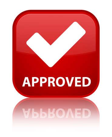valider: Approuv� (validate ic�ne) de bouton carr� rouge Banque d'images
