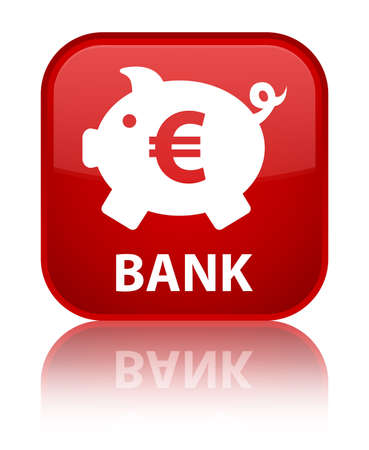 Bank (piggy box euro sign) red square button photo