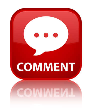 Comment (conversation icon) red square button Stock Photo