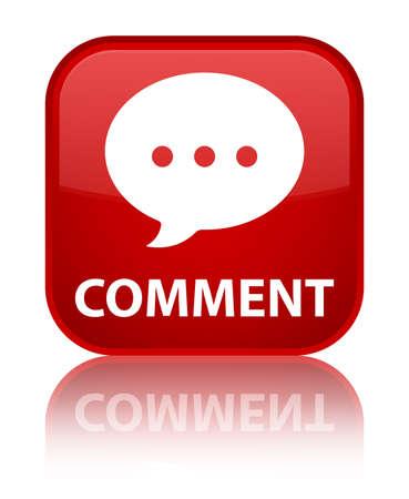conversation icon: Comment (conversation icon) red square button Stock Photo