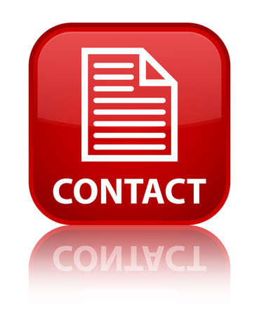 contact page: Contact (page icon) red square button Stock Photo