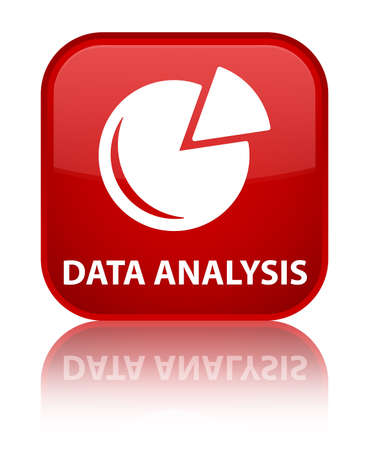 Data analysis (graph icon) red square button photo
