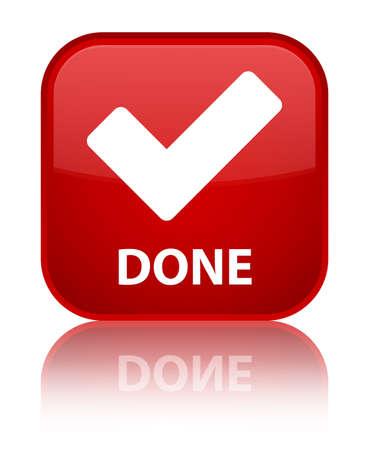 valider: Fait (valider ic�ne) bouton carr� rouge Banque d'images
