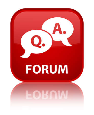 question and answer: Forum (question answer bubble icon) red square button