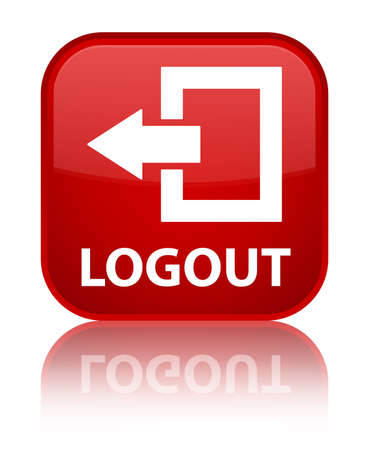 log off: Logout red square button Stock Photo