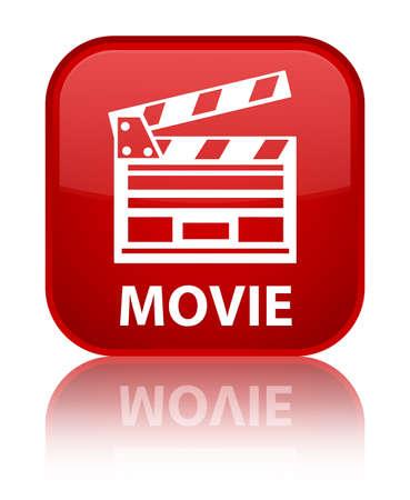 Movie (cinema clip icon) red square button photo