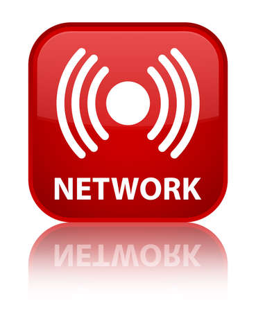 icon red: Network (signal icon) red square button Stock Photo